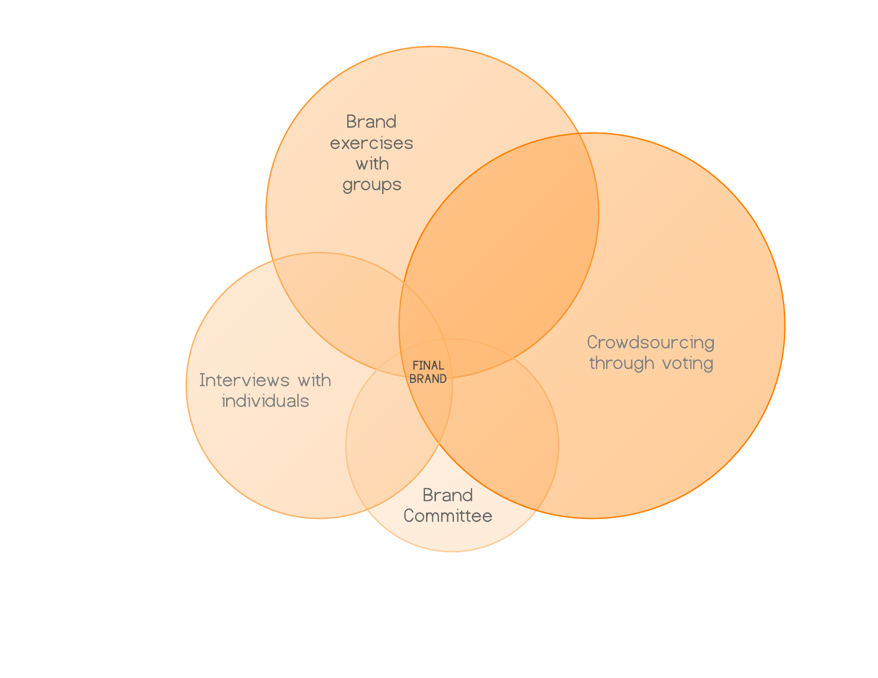 How to re brand a nonprofit network taketwo a venn diagram with four overlapping circles to show our re branding process pooptronica
